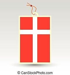 vector simple danish price tag - symbol of made in denmark -...