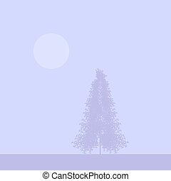 Fir tree silhouette at foggy morning Vector illustration