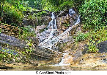 spring Waterfall Tien Sa falls in Sapa Vietnam - spring...