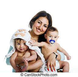 Mom with her twin sons, isolated white background