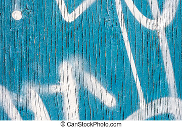 Vertical Lines of Peeling blue paint on wooden wall, with...