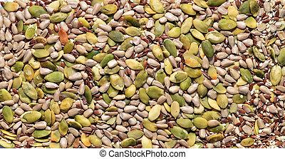 miscellaneous seeds texture - pumpkin sunflower and...