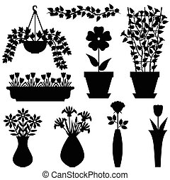 Silhouettes set of flowers in pots and vases