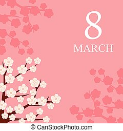 8 March card decorated with flowering branches