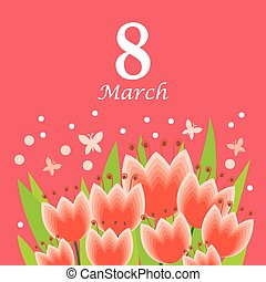 8 March card with tulips bouquet on pink background
