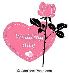 Wagging card in form of heart with pink rose flower - Vector...