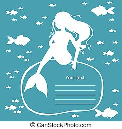 Greeting frame with mermaid on blue background - Vector...