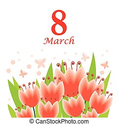 8 March card with tulips bouquet