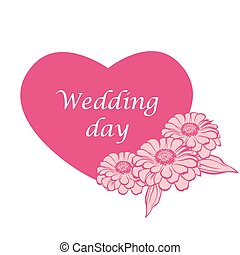 Wagging card in heard form zinnias decorated - Vector...