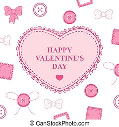 Valentines card with heart lace on decorative white background
