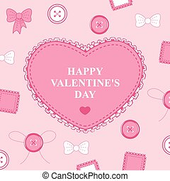 Valentines card with heart lace on decorative pink background