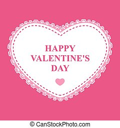 Valentines card with decorative heart lace on pink background