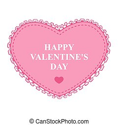 Valentines card with pink decorative heart lace