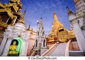 Shwedagon Pagoda - YANGON, MYANMAR - OCTOBER 17, 2015:...