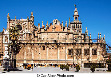 Seville - View of Seville Cathedral with the Giralda in the...