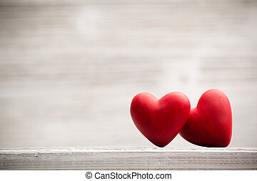 Heart. - Red heart on the wooden  background.