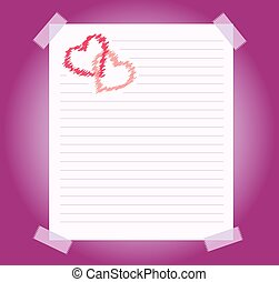 blank notepad sheet of paper background with two hearts drawing. vector