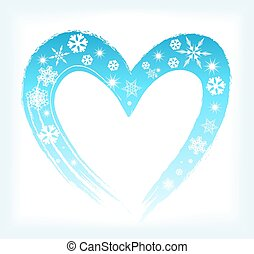 heart shape with snowflakes. winter background