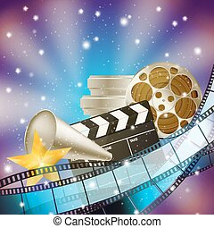 cinema blue background with retro filmstrip, clapper and stars