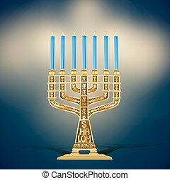 illustration of golden menorah with seven blue candles...