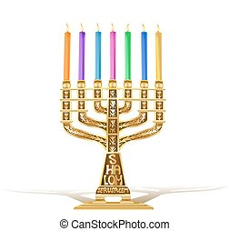 illustration of golden menorah with seven candles