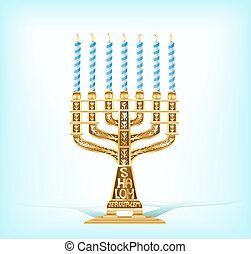 illustration of realistic golden menorah with seven blue...