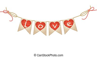 vintage bunting with hearts and love word on white. vector