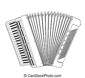 accordion drawing on white. vector