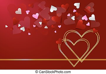Two connected golden hearts vector - Two connected golden...