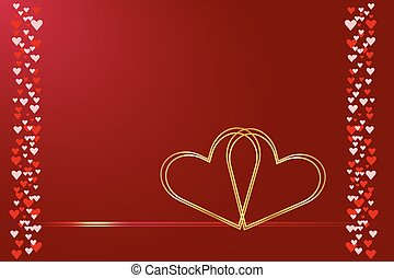Wedding card of two connected heart - Two connected golden...
