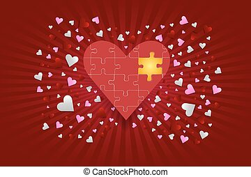 The red puzzle heart with golden co