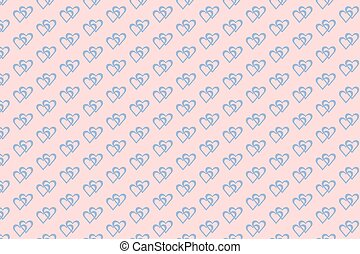 Blue hearts on pink background patt