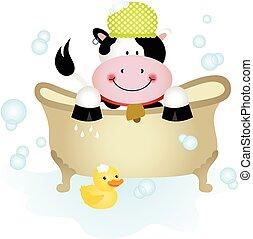 Cute cow taking a bath