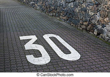 Maximum speed 30 - Speed limit 30 painted on interlocking...
