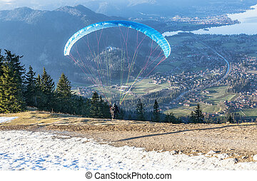 Paraglider at the start