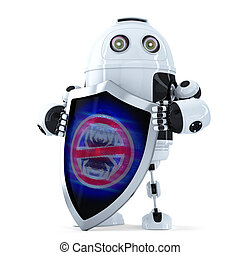 Robot with shield. Virus protection concept. Isolated. Contains clipping path