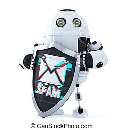 Robot with shield. Spam protection concept. Isolated. Contains clipping path