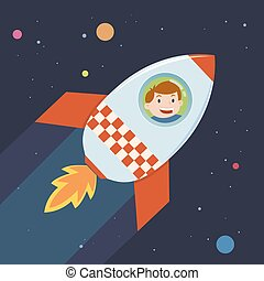 Boy In a Rocket Journey To Space - Boy in a rocket ship in a...