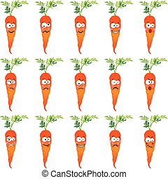 Carrots with different expressions - Scalable vectorial...