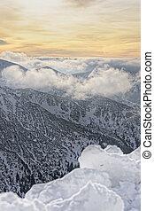 Sun and clouds atop of Kasprowy Wierch in Zakopane in Tatras...