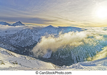 Sunset at the Kasprowy Wierch in Zakopane in Tatra Mounts in...
