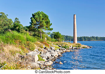 Pine and chimney - Trees and fireplace over the shore sea