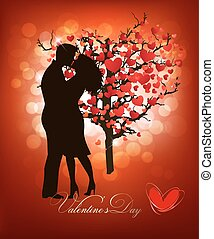 Valentine's Day background with a kissing couple silhouette and heart shaped tree. Vector.