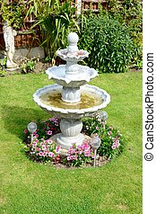 Home Garden Fountain  - A summer time home garden fountain