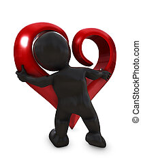 Morph man with heart - 3D Render of a Morph Man with heart