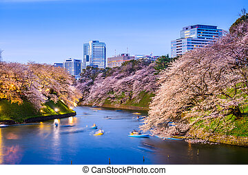 Tokyo Imperial Moat in Spring - Tokyo, Japan at...