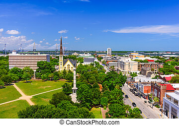 Charleston SC Skyline - Charleston, South Carolina, USA...