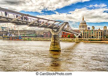 The Millennium Bridge against St Paul Cathedral, London, UK