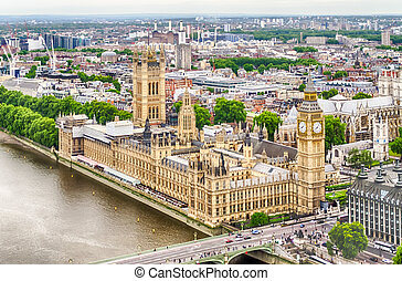 Aerial View of the Palace of Westminster, Houses of Parliament, London