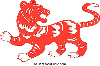 Tiger. Chinese paper cut zodiac. Chinese lunar horoscope.